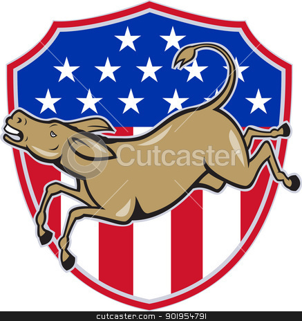 Democrat Donkey Mascot American Flag stock vector clipart, Illustration of a democrat donkey mascot of the democratic party jumping set inside american stars and stripes shield done in cartoon style. by patrimonio