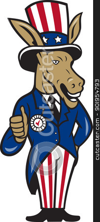 Democrat Donkey Mascot Thumbs Up Flag stock vector clipart, Illustration of a democrat donkey mascot of the democratic grand old party gop wearing hat showing thumbs up and American stars and stripes flag suit done in cartoon style. by patrimonio