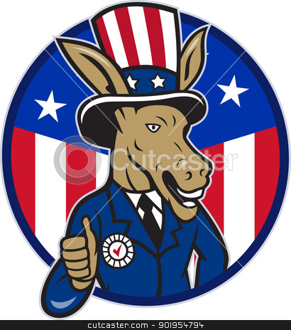 Democrat Donkey Mascot Thumbs Up Flag stock vector clipart, Illustration of a democrat donkey mascot of the democratic grand old party gop wearing hat and suit thumbs up set inside American stars and stripes flag circle done in cartoon style. by patrimonio