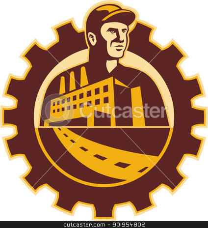Factory Worker Mechanic With Cog Building stock vector clipart, Illustration of a factory worker mechanic tradesman with factory building set inside cog mechanical gear done in retro style. by patrimonio