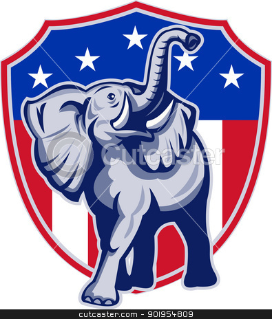 Republican Elephant Mascot USA Flag stock vector clipart, Illustration of a republican elephant mascot with American USA stars and stripes flag shield done in retro style. by patrimonio