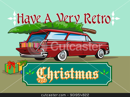 Retro Christmas Tree Station Wagon stock vector clipart, Greeting card poster illustration showing a christmas tree on top of vintage station wagon automobile with gifts presents in the car boot and words