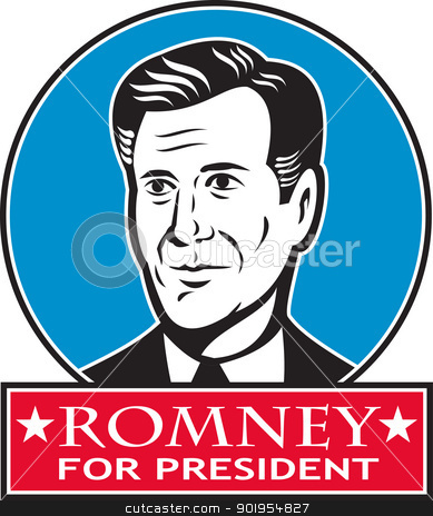 Mitt Romney For American President  stock vector clipart, Illustration of American Mitt Romney for president presidential candidate of the United States of America done in retro style. by patrimonio