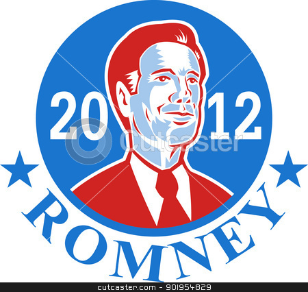 Mitt Romney For American President 2012 stock vector clipart, Illustration of American Mitt Romney for president presidential candidate of the United States of America done in retro style. by patrimonio
