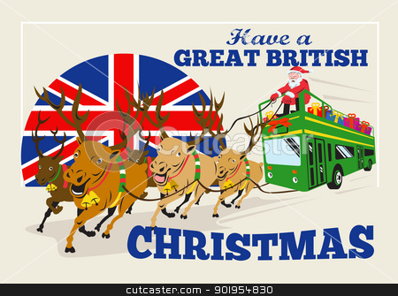 Great British Christmas Santa Reindeer Doube Decker Bus stock vector clipart, Retro style illustration of a greeting card poster showing santa claus saint nicholas father christmas on double decker bus with reindeer and union jack flag with words 