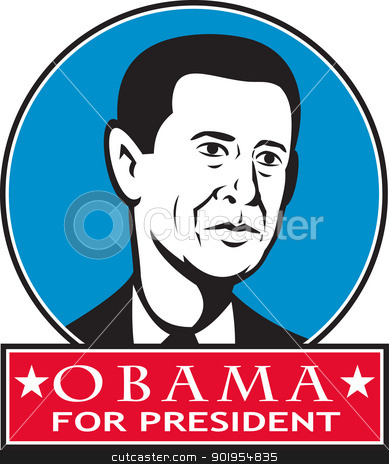 Obama For American President stock vector clipart, Illustration of American President Barack Obama of United States of America presidential candidate done in retro style. by patrimonio