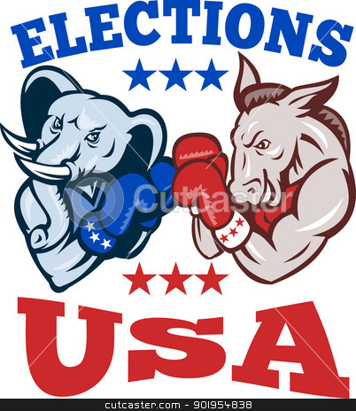 Democrat Donkey Republican Elephant Mascot USA stock vector clipart, Illustration of a democrat donkey mascot of the democratic grand old party gop and republican elephant boxer boxing with gloves set inside circle done in retro style with words elections usa by patrimonio