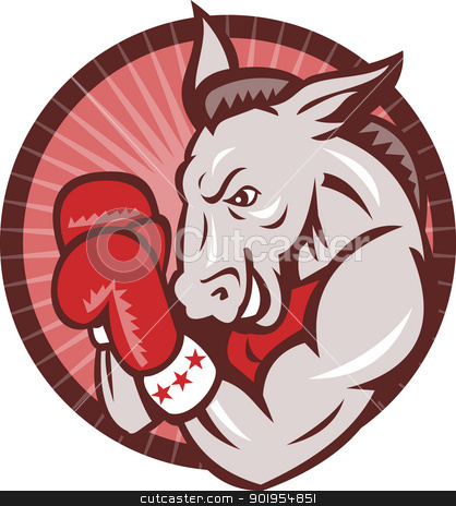 Democrat Donkey Mascot Boxer Boxing Retro stock vector clipart, Illustration of a democrat donkey mascot boxer boxing with gloves set inside circle done in retro style. by patrimonio