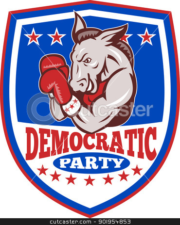 Democrat Donkey Mascot Boxer Shield stock vector clipart, Illustration of a democrat donkey mascot of the democratic grand old party gop boxer boxing with gloves set inside shield done in retro style. by patrimonio