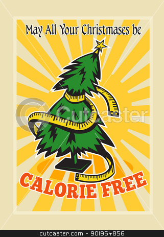 Calorie Free Christmas Tree Tape Measure stock vector clipart, Greeting card poster illustration showing a christmas tree with tape measure wrapped around with sunburst and words