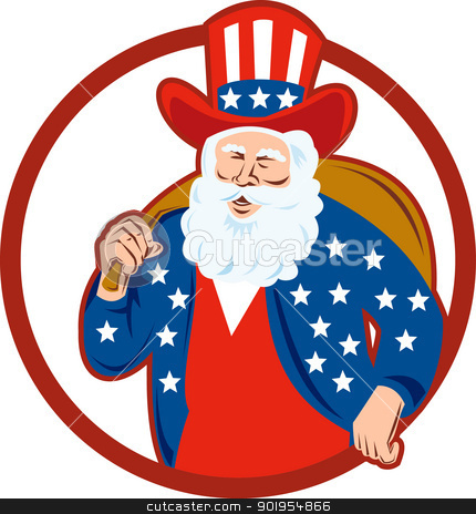 American Father Christmas Santa Claus stock vector clipart, Retro style illustration of american santa claus saint nicholas father christmas uncle sam on isolated white background set inside circle. by patrimonio
