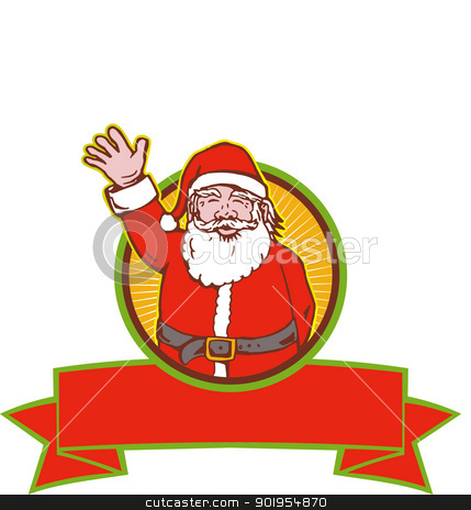 Santa Claus Father Christmas Cartoon stock vector clipart, Retro style illustration of cartoon santa claus saint nicholas father christmas waving on isolated white background. by patrimonio