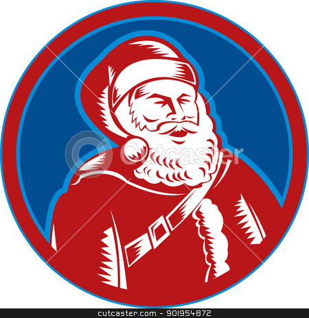 Santa Claus Father Christmas Retro stock vector clipart, Retro style illustration of santa claus saint nicholas father christmas woodcut style set inside circle on isolated white background. by patrimonio