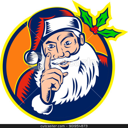 Santa Claus Father Christmas Retro stock vector clipart, Retro style illustration of santa claus saint nicholas father christmas pointing finger on isolated white background woodcut style. by patrimonio
