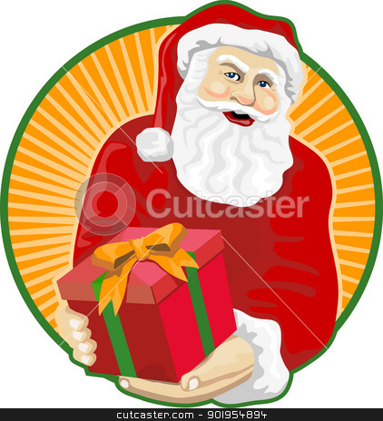 Santa Claus Father Christmas Retro stock vector clipart, Retro style illustration of santa claus saint nicholas father christmas handing gift present on isolated white background. by patrimonio