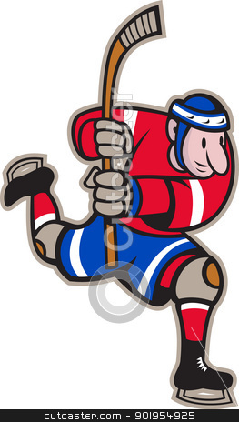Ice Hockey Player Striking Stick stock vector clipart, Illustration of a ice hockey player with hockey stick skating striking done in cartoon style. by patrimonio