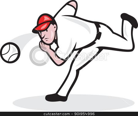 American Baseball Player Pitcher stock vector clipart, Illustration of a american baseball player pitcher throwing ball cartoon style isolated on white background. by patrimonio