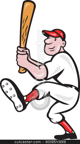 American Baseball Player Batting Cartoon stock vector clipart, Illustration of a american baseball player batting cartoon style isolated on white background. by patrimonio