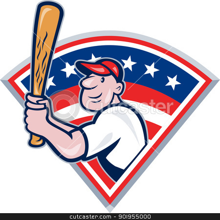 American Baseball Player Batting Cartoon stock vector clipart, Illustration of a american baseball player batting cartoon style isolated on white with stars and stripes set inside fan shape. by patrimonio