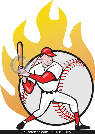 American Baseball Player Batting Ball stock vector clipart, Illustration of a american baseball player batting cartoon style isolated on white with ball on fire in background. by patrimonio