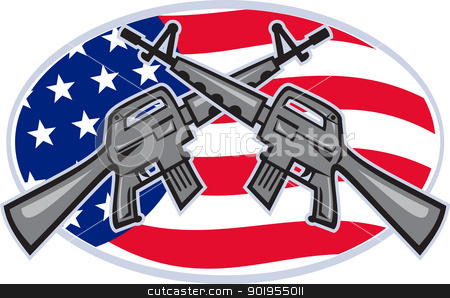 Armalite M-16 AR-15 Assault Rifle stock vector clipart, Illustration of  an Armalite M-16 Colt AR-15 assault rifle with American stars and stripes flag crossed set inside ellipse viewed from side. by patrimonio