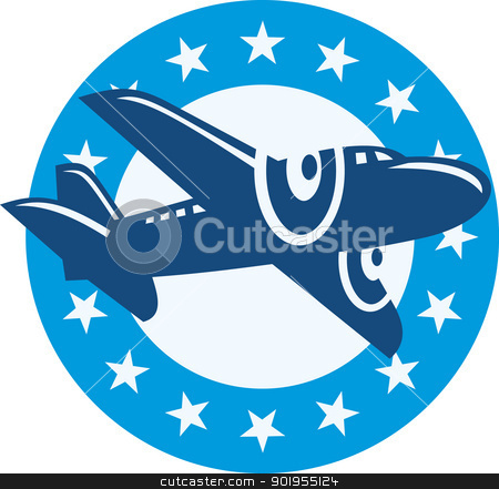 Vintage Propeller Airplane Flying Stars stock vector clipart, Retro illustration of a vintage propeller airplane airliner in full flight flying set inside circle with stars. by patrimonio