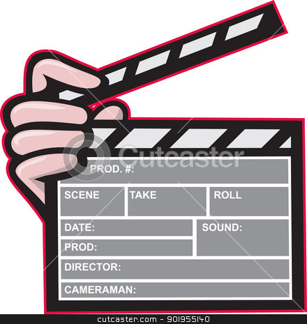 Clapboard Clapperboard Clapper Front stock vector clipart, Illustration of a clapboard clapper clapperboard front view with hand holding on isolated white background. by patrimonio