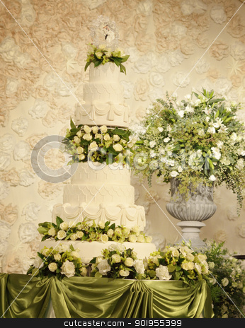 Wedding cake stock photo, Wedding cake by Patipat Rintharasri