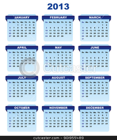 2013 Calendar stock vector clipart, 2013 Calendar in Shades of Blue on White Background by JAMDesign