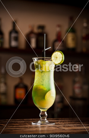Cocktail lime stock photo, Cocktail lime on bar table by Grafvision