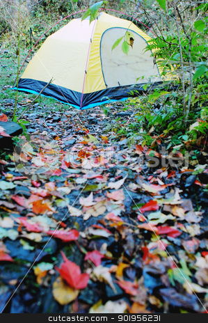 Camping in autumn stock photo, Camping in autumn by John Young