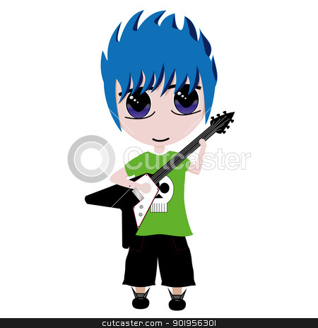 Guitar Guy stock vector clipart, Isolated vector of a boy playing electric guitar by William Robson