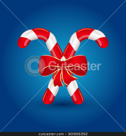 Christmas candy canes with red bow isolated stock vector clipart, Illustration Christmas candy canes with red bow isolated - vector by -=Mad Dog=-
