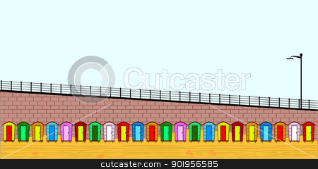 Empty BEach Huts stock vector clipart, A row of multi coloured beach huts, no meshes or the like so easy to edit. by Kotto