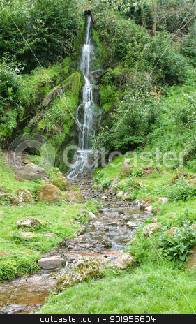 Waterfall stock photo, A small waterfall in an English Country Park. by Trevor Jordan