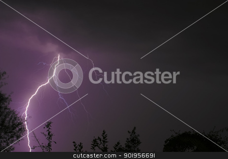 Lightening Strike stock photo, A Lightning Strike during an electric storm at night time. by Trevor Jordan