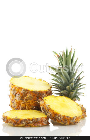 Pineapple stock photo, Tropical fruit sliced by Matthias Krapp