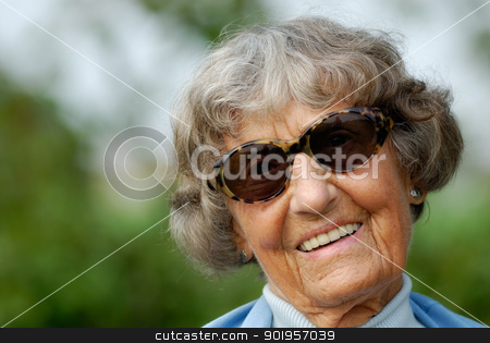 Smiling stock photo, Portrait from a old woman by Picturehunter