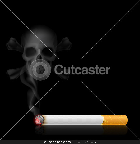 Cigarette and Skull shaped smoke stock photo, Skull shaped smoke comes out from cigarette on black by dvarg