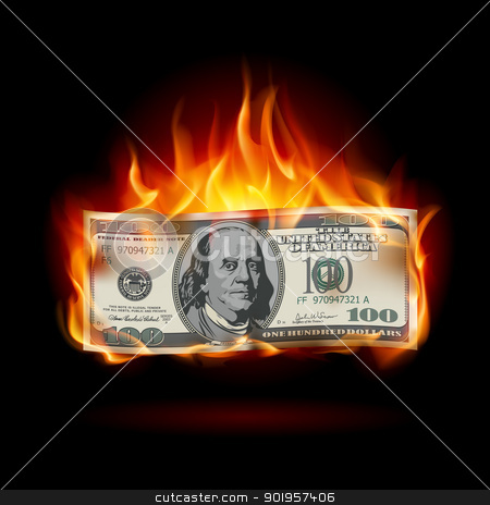 Burning dollar  stock photo, Burning dollar on a black background for design by dvarg