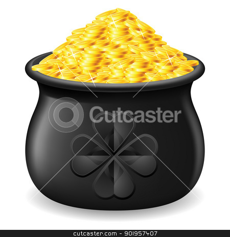 Pot full of gold coin stock photo, Black Pot full of gold coin. Illustration on white by dvarg