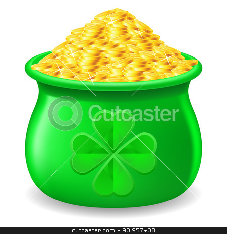 Pot full of gold coin stock photo, Green Pot full of gold coin. Illustration on white by dvarg