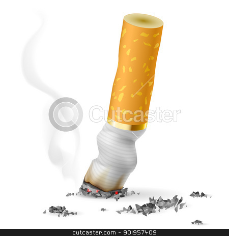 Realistic cigarette butt stock photo, Realistic cigarette butt.  Illustration on white background by dvarg