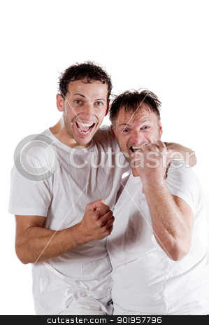 Sucessfull soccer player stock photo, Two sucessfull soccer player. Full isolated studio picture by Picturehunter