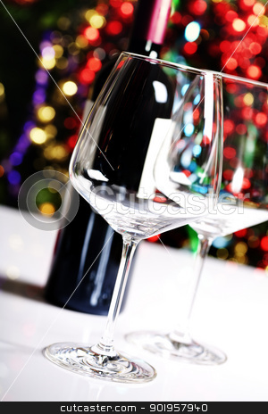 wine glasses stock photo, Wine glasses on Christmas tree background by klenova