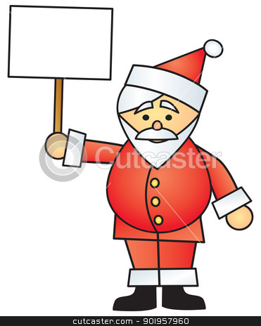 Cartoon Santa Holding Sign stock vector clipart, A cartoon Santa Claus holding up a blank sign. by Jamie Slavy