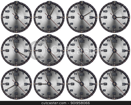 Set of Grunge Metal Clocks stock photo, Collection of grunge clocks showing each hour of the day