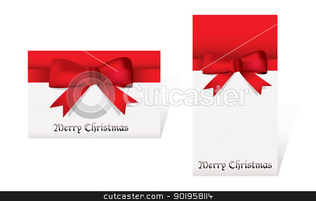 Merry christmas cards stock vector clipart, Red and white christmas cards with ribbon and bow knot by Michael Travers