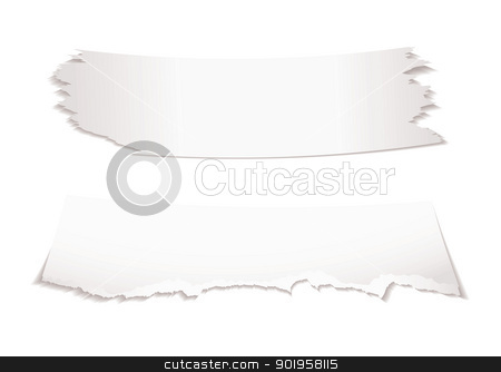 Paper scraps stock vector clipart, Two bits of torn white paper with shadow with copy space by Michael Travers