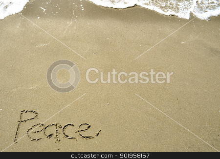 Peace Written in the Sand stock photo, Peace Written in the Sand by Liane Harrold